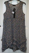 BNWT - £38 - Dorothy Perkins Ditsy Flower Print Sleeveless Ruffle Hem Dress - 14