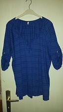 3/4 Arm Shirt Top Bluse Blau gestreift Größe 52/54