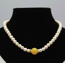 Handmade 14mm Yellow Jade Gems Bead 8-9mm White Freshwater Pearl Necklace 18''