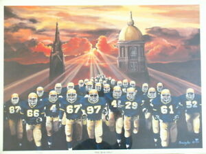 SIGNED PENNINGTON NOTRE DAME FOOTBALL TEAM WAKE UP THE ECHOES LTD EDITION PRINT