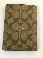 New Authentic Coach F93518 Passport Case Wallet In Signature Canvas Tan/Black