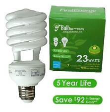FIRST ENERGY 23 WATT CFL LIGHT BULBS 2 PACK 10,000 HOUR LIFE 1,600 LUMENS NEW!