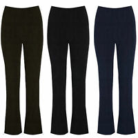 NEW LADIES BOOTLEG STRETCH FINELY RIBBED HIPSTER TROUSERS BLACK SIZE 8-24