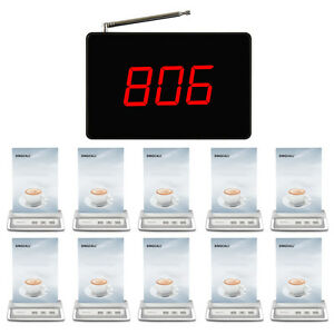 SINGCALL Wireless Calling System 1 Screen Receiver, 10 Buttons for Cafe, Bar
