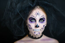 BEAUTIFUL MEXICAN SUGAR SKULL CANVAS PICTURE #31 STUNNING GOTHIC BRIDE CANVAS