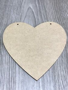 125mm MDF HEART SHAPE BLANK PLAQUE WITH 2 HANGING HOLES **ALSO IN OAK VENEER**