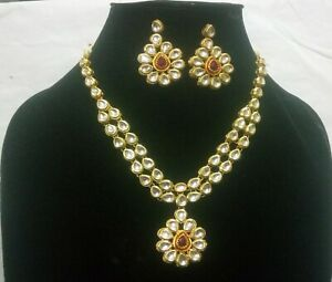 Indian Kundan Necklace Gold Plated With Meenakari Ruby Studded Wedding Jewelry