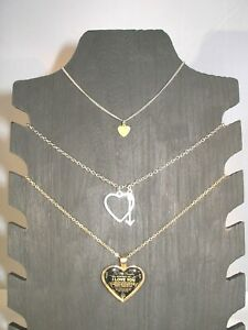Three Piece Lot of Vintage Jewelry :2 Heart Necklaces &  1 Heart Anklet