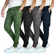 Pantalone Uomo Cargo Invernale Con Tasconi Verde Blu Grigio Nero Kaki Primavera