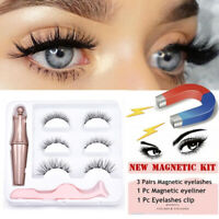 3 Pairs Magnetic Eyelashes With 1 Pc Magnetic Eyeliner and Tweezer Set