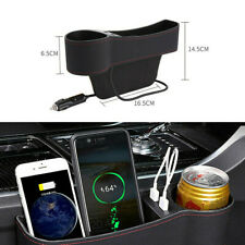 PU Leather Dual USB Cup Holder Seat Storage Box Organizer Fit For Car Left Side