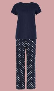Ex M*S Pure Cotton Star Print Pyjama Set in Navy All Sizes (AQ14.4)
