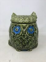 Vintage 1960s Mid Century Modern Owl Cookie Jar Green And Blue Unique