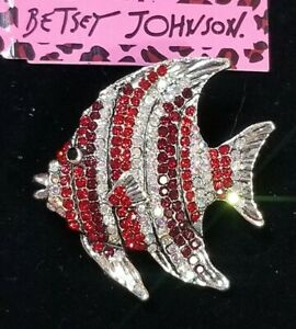 Betsey Johnson Wrapped Inlay Red Crystal Tropical  Fish Pendant Brooch pin