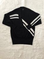Rag & Bone Grace L Black With White Stripes Pullover Sweater V-Neck Merino Wool