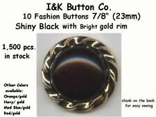 """10 Shiny Black and Bright Gold plated Plastic Rim Fashion Buttons ~7/8"""" (23mm)"""