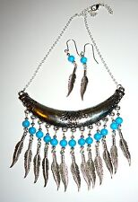 HANDCRAFTED UNIQUE STATEMENT COLLAR & EARRINGS WITH TURQUOISE BEADS & FEATHERS