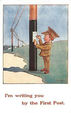 POSTCARD COMIC  ARMY - LITTLE BOY - WRITING YOU BY THE FIRST POST
