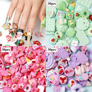 Women 3D Nail Charms Kawaii Candy Mixed Resin Acrylic Art Tips Rhinestones 30Pcs