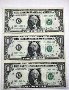 1969-D Green Seal Consecutive Numbers $1 One Dollar Notes - 3 Notes - CRISP