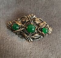 Vtg small Brooch Celtic Scottish Pin green Stones antiqued silvertone leaves