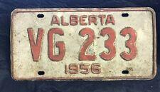 Antique Alberta Canade 1956 License Plate VG233