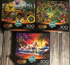Lot of 3 Buffalo Games Jigsaw Puzzles Amazing Nature 500 Pieces