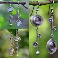 Retro Moonstone 925 Silver Dangle Drop Earrings Ear Hook Women Fashion Jewelry