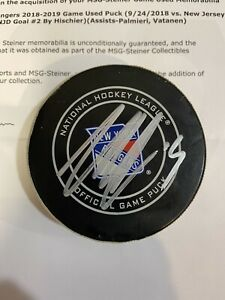 GAME USED SCORED GOAL Puck NICO HISCHIER NEW JERSEY DEVILS NJ @ Rangers SIGNED