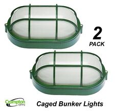 2 x Outdoor Oval Caged Metal Bunker Lights Aluminium Glass Small Green