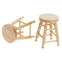 1Pc 1/12 Dollhouse miniature wooden stool chair furniture accessories decorat Fs