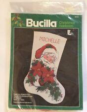 "Bucilla Counted Cross Stitch Stocking Kit Santa & Poinsettia 82431 Sealed 18"""