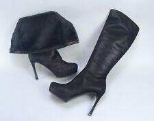 Yves Saint Laurent RIVE GAUCHE $1495 Black Suede & FUR Knee Hight Boots US9 EU39