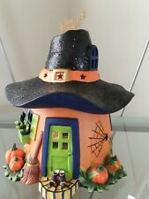 Partylite Halloween Pumpkin Witch House Tealight Holder With Spinning Stars New