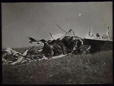 Glass Magic Lantern Slide CRASHED GERMAN BIPLANE WW1 PHOTO WORLD WAR ONE