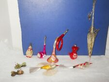 Lot of 7Antique Glass Christmas Ornaments Wire Wrap Parasol, Pipe, Tea Pot
