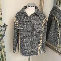 Zara M 12 14 blue tweed look designer inspired button up coat work smart BNWT