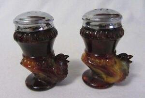 BOYD GLASS  BROWN SLAG GLASS CHICK DOVE BIRD SALT & PEPPER SHAKERS PAIR GLOWS