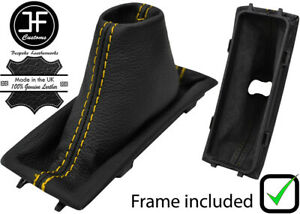 YELLOW STITCH LEATHER AUTO SHIFT BOOT + PLASTIC FRAME FOR CADILLAC SRX 2004-2009