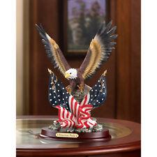 PATRIOTIC AMERICAN BALD EAGLE IN FLIGHT STATUE FIGURINE DECOR~32419