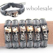 6pcs cool man Skull Pendant leather bracelet S-10