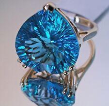 12.45Ct Swiss Blue Topaz Ring 14K Yellow Gold, Size 7, Heart shape,Certificate