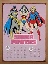 DC Comics Girls Super Powers - Tin Metal Perpetual Calendar