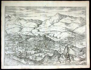 ca. 1575 Loja Espana Spain Braun Hogenberg map Plan engraving Kupferstich
