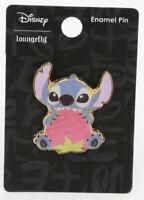 Disney Loungefly Lilo And Stitch Biting Strawberry Gold Tone Metal Enamel Pin