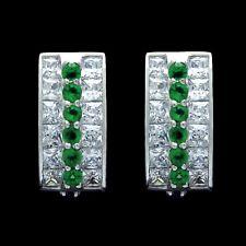 2CT Princess Round Emerald Green Created Diamond Huggie Earrings 14K White Gold