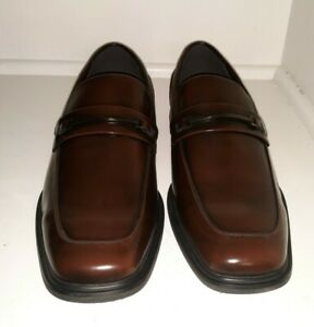 Kenneth Cole Reaction Mens Brown Settle Bit Loafer Size 11W Business Dress Shoes