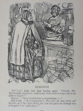 Scottish Humour STAUNCH OLD LADY BUYING EGGS - VEGETARIAN Antique Punch Cartoon