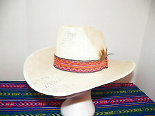 Vintage SOUTHWESTERN 60s Weaved 70s Mesh Straw Cowboy Western Hat SIZE 7 1/8