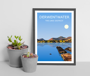 Derwentwater Art Print, The Lake District National Park Landscape, Lakes Hiking